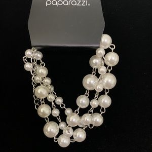 Silver and pearl bead cluster bracelet